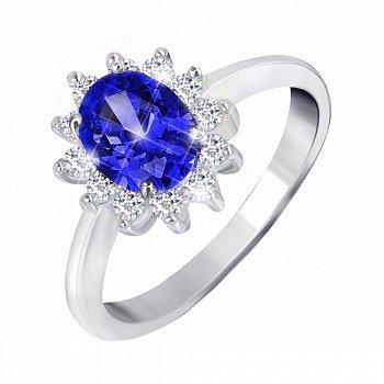 Серебряное кольцо с синим и белыми фианитами 000028363