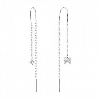Серебряные ассиметричные серьги-протяжки с фианитами 000122957