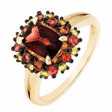 Золотое кольцо Мадлен с гранатом и цветными сапфирами