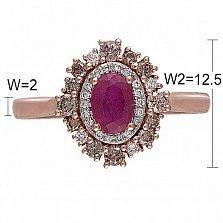 Кольцо Венеция из красного золота с бриллиантами и рубином