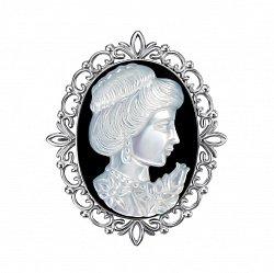 Серебряная брошь с белым перламутром и черной эмалью 000136583