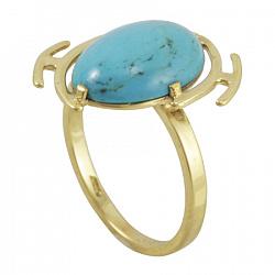 Кольцо из желтого золота Эльвира с бирюзой