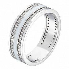 Золотое кольцо Клеспия с белой эмалью и бриллиантами