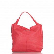 Кожаная сумка на каждый день Genuine Leather 8925 кораллового цвета с накладным карманом на молнии