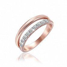 Серебряное кольцо Земфира с позолотой и фианитами