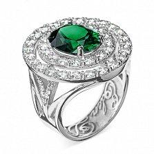 Золотое кольцо Императрица с гидротермальным изумрудом и бриллиантами