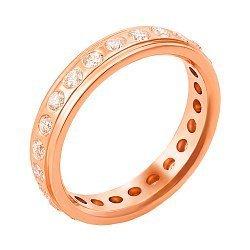 Обручальное кольцо из красного золота с бриллиантами 000006434