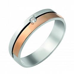Серебряное обручальное кольцо Дабл с фианитом и золотой накладкой