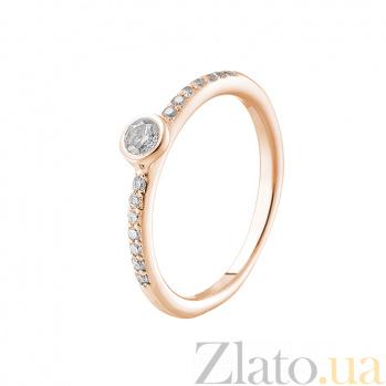 Кольцо в красном золоте Леона с бриллиантами 000079242