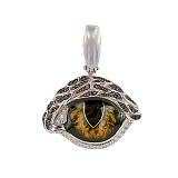 Кулон из белого золота Кошачий глаз с разноцветными фианитами
