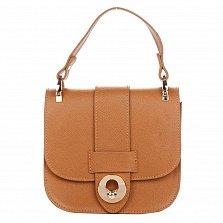 Кожаный клатч Genuine Leather 1528 коньячного цвета с короткой ручкой и клапаном на магните