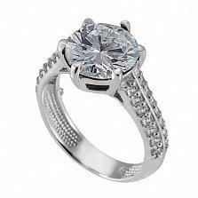 Серебряное кольцо с цирконием Снежана