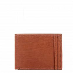 Кожаный кошелек-книжка Genuine Leather gp1123 коньячного цвета с декоративной прошивкой