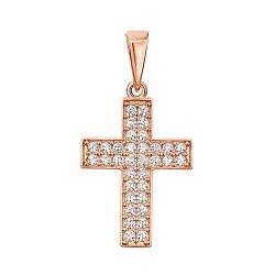 Крестик из красного золота с цирконием 000140159