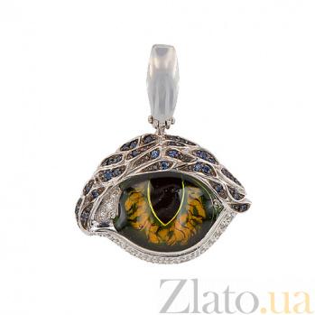 Кулон из белого золота Кошачий глаз с разноцветными фианитами VLT--ТТ3571-0