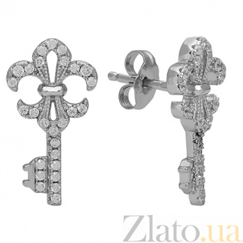 Серебряные серьги с фианитами Ключики 3С543-0138