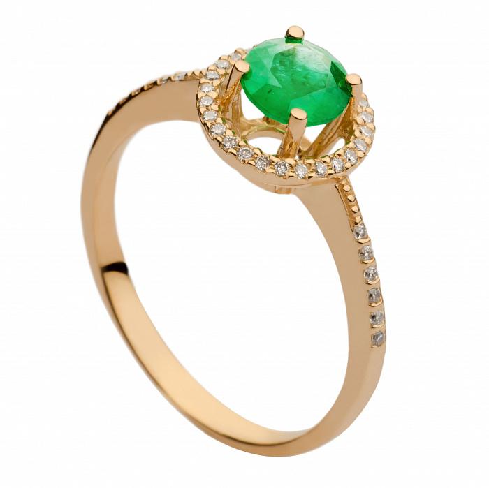 Золотое кольцо с изумрудом и бриллиантами Арина 000030377