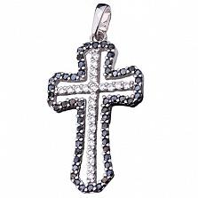 Крест из белого золота Эстик с цирконием