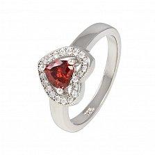 Серебряное кольцо с красным фианитом Love you
