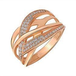 Кольцо из красного золота с фианитами 000146287