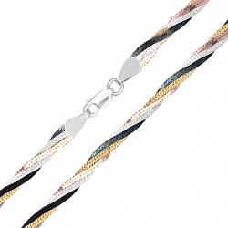 Серебряная цепь Луанда с позолотой, родием и чернением, 5 мм