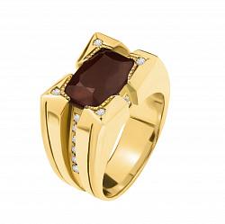 Золотой перстень Вавилон с фантазийной шинкой, рубином и бриллиантами