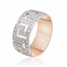 Золотое кольцо с орнаментом Биата с фианитами