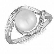 Кольцо Эрна из белого золота с жемчугом и фианитами