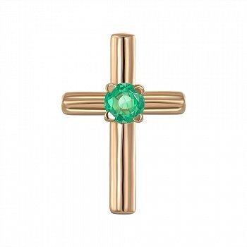 Крестик из красного золота с изумрудом 000149672