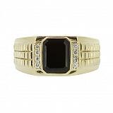 Перстень в жёлтом золоте с бриллиантами и ониксом Джемал