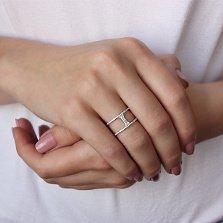 Золотое кольцо Борнео в белом цвете с фианитами