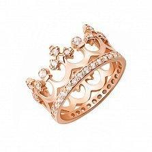 Кольцо-корона из красного золота Сказочное королевство с фианитами