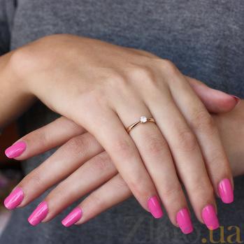 Помолвочное кольцо в красном золоте Решение с фианитом 000015467