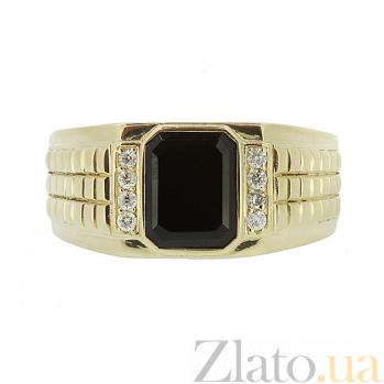 Перстень в жёлтом золоте с бриллиантами и ониксом Джемал 000021366