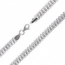 Серебряная цепочка Королевский бисмарк с алмазной гранью