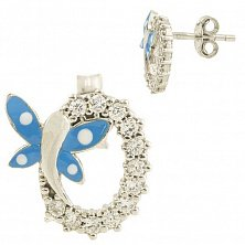 Серебряные серьги-пуссеты Веснянка с фианитами и синей эмалью