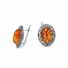 Серебряные серьги Оранжина с янтарем и чернением