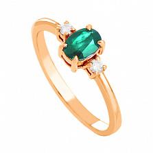 Золотое кольцо с изумрудом и бриллиантами Дэрин