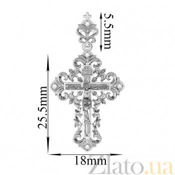 Золотой крестик в белом цвете Узорный с бриллиантами VLA--32289