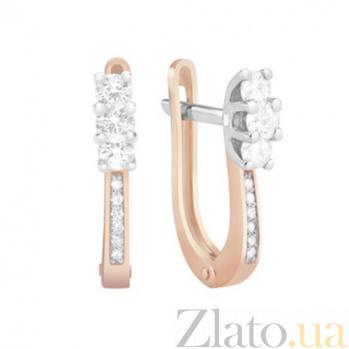 Золотые серьги с бриллиантами Ленора KBL--С2581/комб/брил