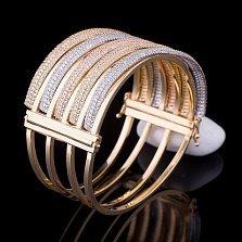 Золотой браслет Клеопатра с фианитами