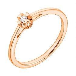 Кольцо из красного золота с бриллиантом 000123675
