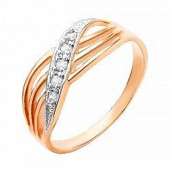 Серебряное кольцо с цирконием и позолотой 000025661