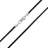 Шелковый шнурок черного цвета с серебряной застежкой Модерн, 2мм