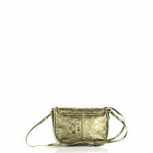 Кожаный клатч Genuine Leather 1547 болотного цвета с бабочками и плечевым ремнем