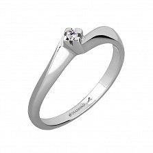 Серебряное кольцо Нежность с бриллиантом