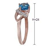 Кольцо Мелинда из красного золота с бриллиантами и топазом