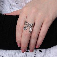 Серебряное кольцо Алания с подвесками в виде листочка и цветка