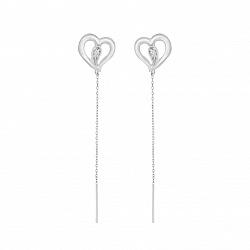 Серебряные серьги-подвески Ромео с сердечками и белыми фианитами