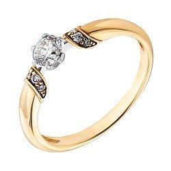 Золотое кольцо в желтом золоте с бриллиантами 000045816